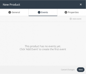 new product window - events tab