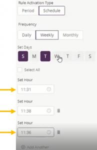 weekly scheduled rule