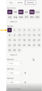 Monthly scheduled rule