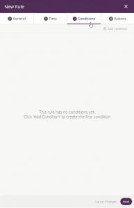 add rule window - conditions tab