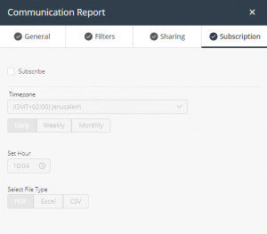 Communication report - subscription tab